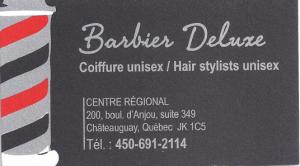 Carte d'affaire du commerce barbier deluxe.