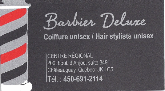 Carte d'affaire du commerce barbier deluxe.