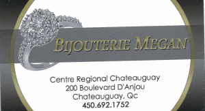 Carte d'affaire de la bijouterie Megan.