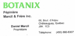 Carte d'affaire du commerce Botanix.