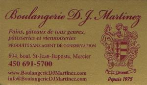 Carte d'affaire de la boulangerie D.J. Martinez.