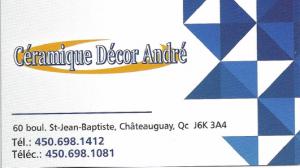 Cette photo montre la carte d'affaire du commerce céramique décor André.