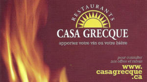 Carte d'affaire du restaurant la casa grecque.
