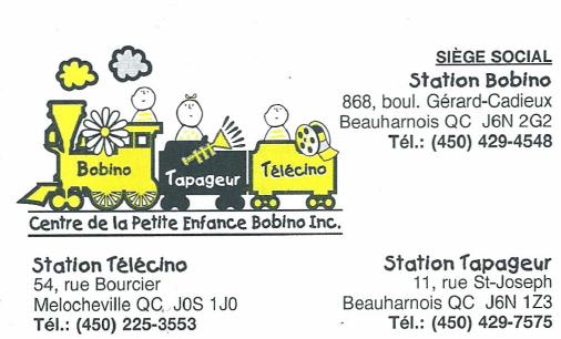 Carte d'affaire du centre de la petite enfance bobino.