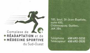 Carte d'affaire du complexe de réadaptation et de médecine sportive du sud-ouest.