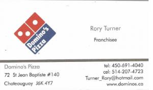 Cette photo montre la carte d'affaire du restaurant domino's.