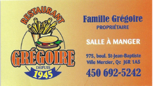 Carte d'affaire du restaurant grégoire.