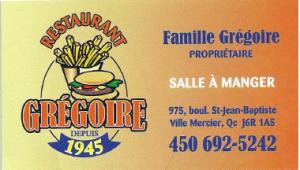 Carte d'affaire du restaurant grégoire.