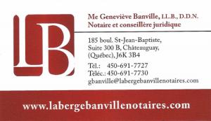 Carte d'affaire des notaires Laberge & Banville.