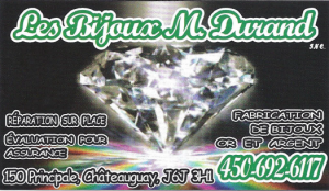 Carte d'affaire du commerce les bijoux M. Durand.