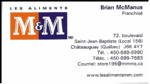 Ccarte d'affaire du commerce m&m.