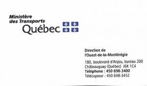 Carte d'affaire du ministère des transports du Québec.