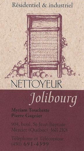 Carte d'affaire du nettoyeur jolibourg.