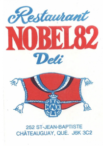 Carte d'affaire du restaurant nobel 82.