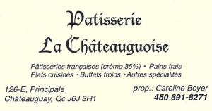 Carte d'affaire de la patisserie la châteauguoise.