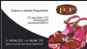 Carte d'affaire du commerce pop chaussures.