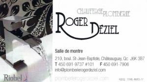 Carte d'affaire du commerce Roger Déziel.