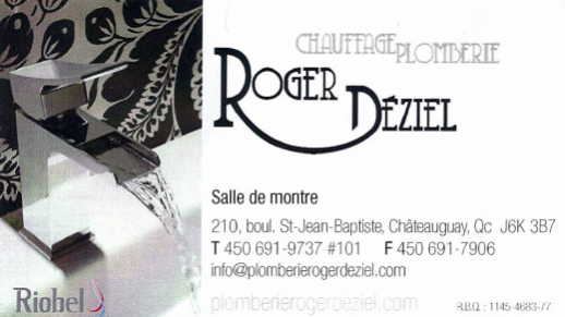 Carte d'affaire du commerce Roger Déziel.