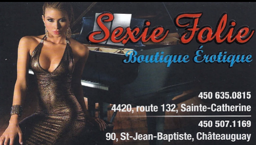 Carte d'affaire de la boutique sexie folie.