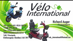 Carte d'affaire du commerce vélo international.
