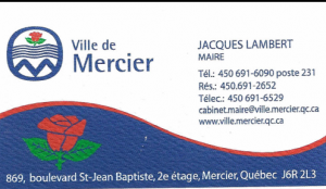 Carte d'affaire de la ville de Mercier.