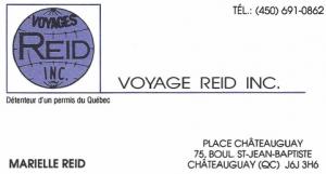 Carte d'affaire de l'agence de voyages Reid.