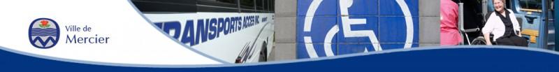 Armoirie de la Ville de Mercier et illustration du transport  adapté, autobus, personne en fauteuil roulant., Cliquer pour voir en grand et pour avoir accès à une description